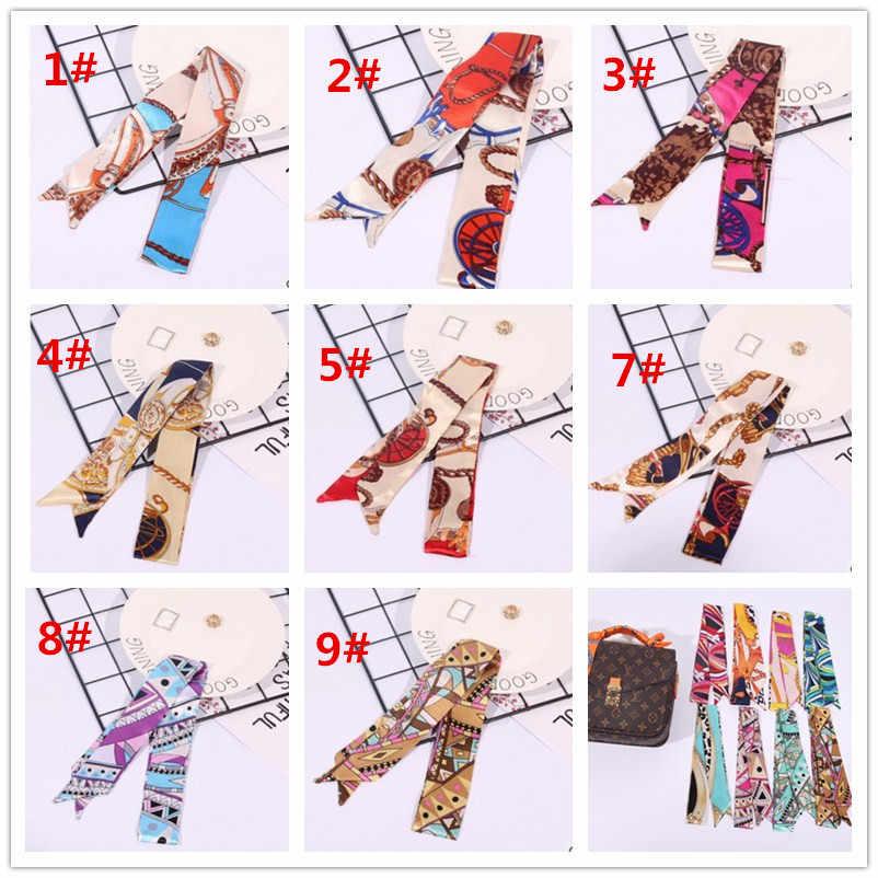 Écharpe en soie pour femmes   Lot de 2 pièces foulard, ruban de mode, poignée de sac, modèle mixte filles, foulard cheveux, petit cou, foulards