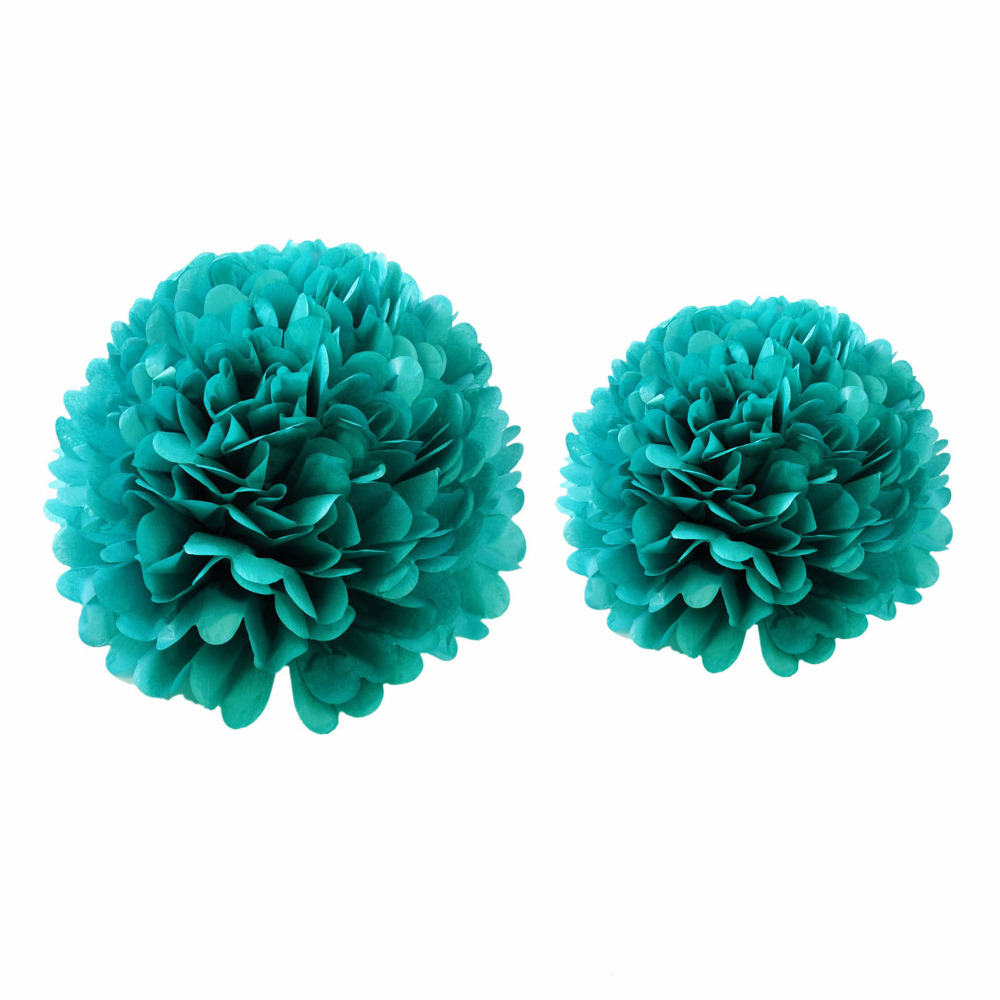 """Free Shipping 200pcs Mix of 10"""" 12""""  Teal Blue Tissue Paper Pompom Pom Poms Wedding Party Decoration"""