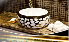 High-quality goods ceramic basin bathroom sinks on the stage light colour European luxury fashion lavabo # 775