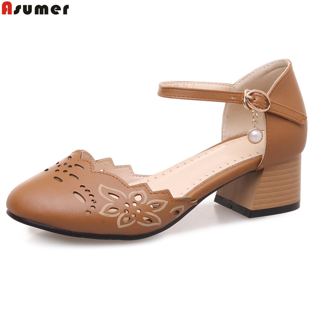 ASUMER brown beige pink round toe buckle casual ladies single shoes square heel women med heels shoes plus size 32-46 colombo орхидея beige brown