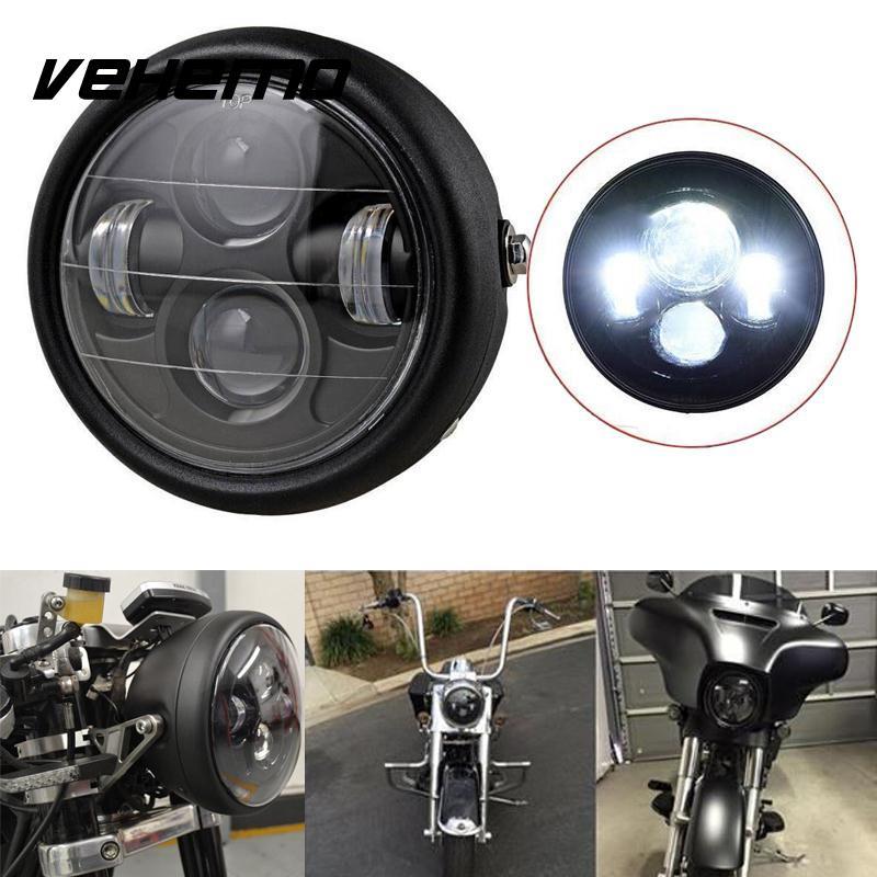 Vehemo Motorcycle Headlight Black Projector Pure White Headlight Bulb Hi/Lo LED Light Beads Lamp Bulb Lamps
