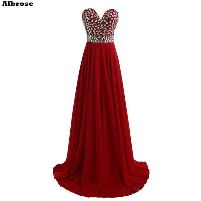 0cfd934cb مثير عارية الذراعين شاطئ فستان سهرة أحمر غامق الشيفون سباركلي فساتين السهرة  الطويلة كريستال أنيقة فساتين