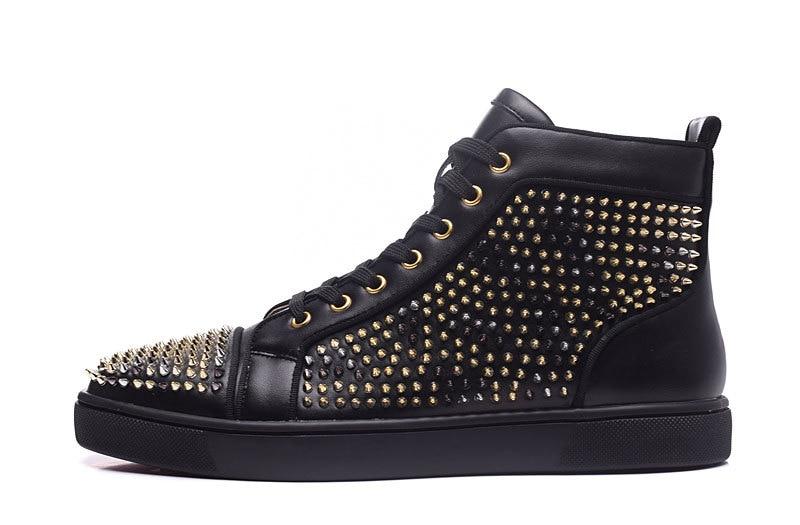 2017 moda unisex stil nou negru piele casual noroi de aur pantofi - Pantofi bărbați - Fotografie 3