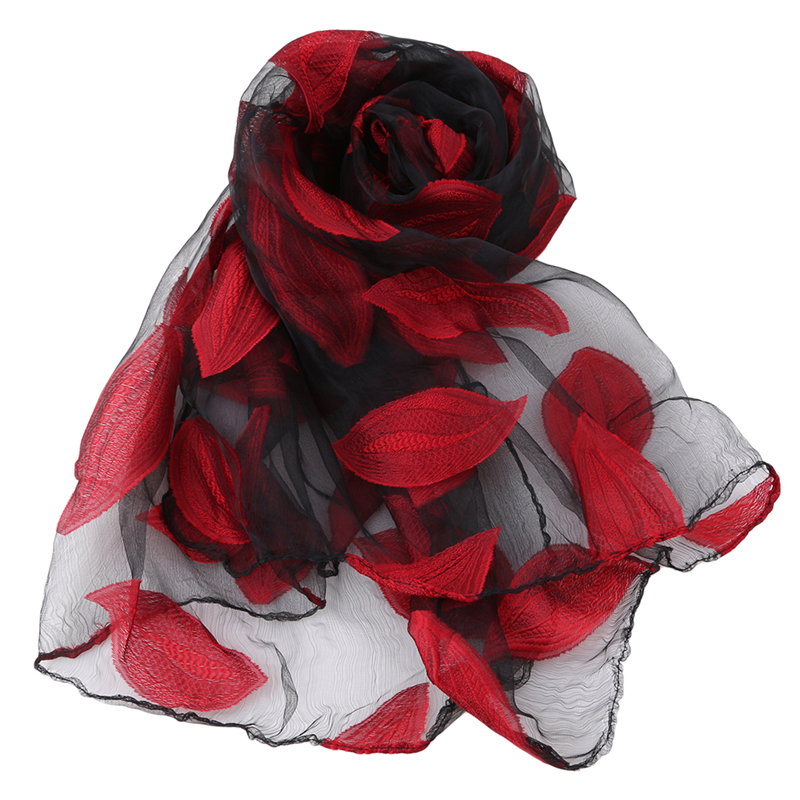 New Women's Scarf  Leaves And Flower Pattern Long Shawl Scarves Spring Autumn High-Quality Organza Lady Elegant Hijab Wraps