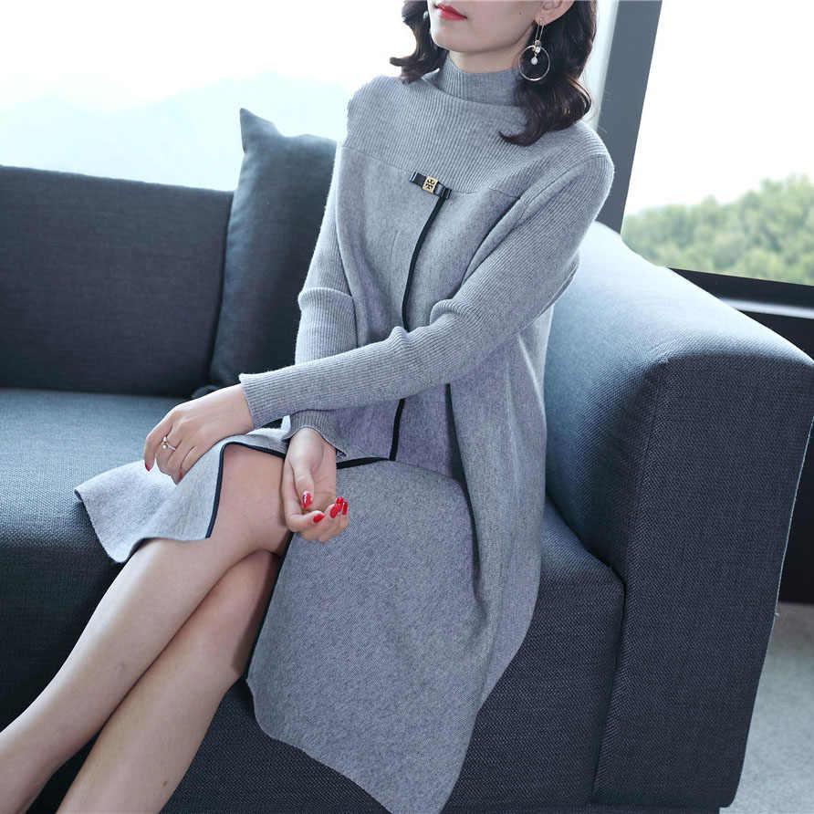 b57f9c9659f ... 2018 nouvelle mode automne et d hiver des femmes à manches longues  tricoté robe pull ...