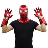 New Anime Spider Man Far From Home Spider Man Cosplay Masks Arm Iron Man PVC Gloves Induction LED Masks Spiderman Launcher Glove