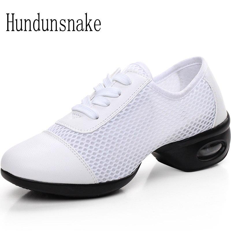 Hundunsnake White Jazz Dance Shoes Platform Women Sneakers Ladies Sport Krasovki Female Gym Gumshoe Trainer Chaussure