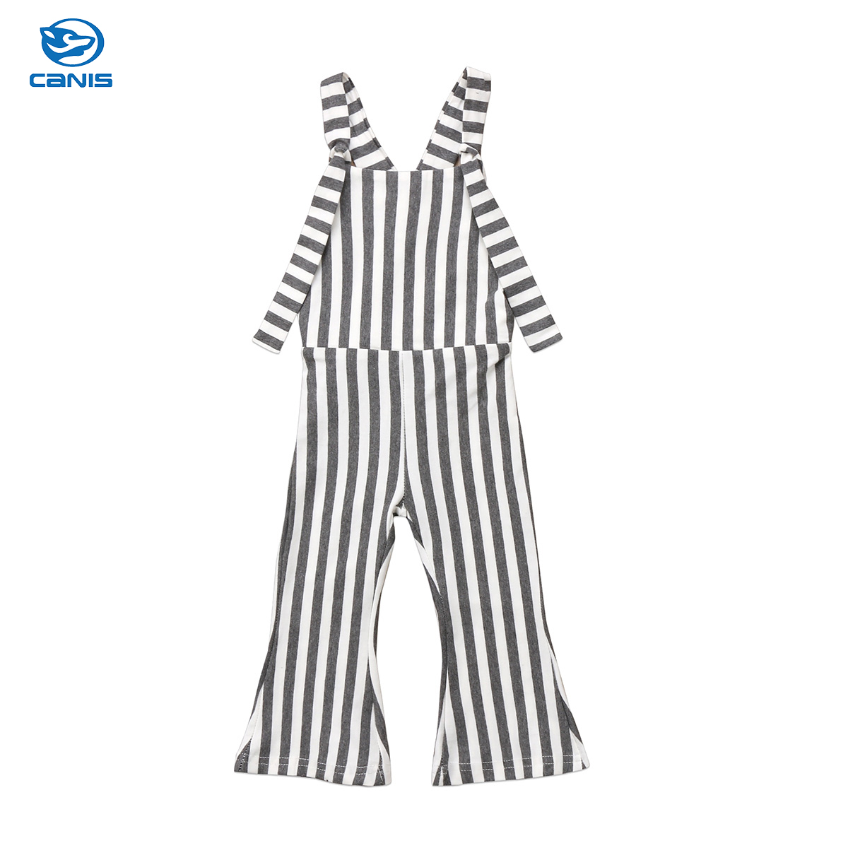 2018 Toddler Baby Girls Kids Pants Striped Flare Pants Overall Romper Bell Bottom Outfits Summer Clothes kids ruffle tie neck striped romper