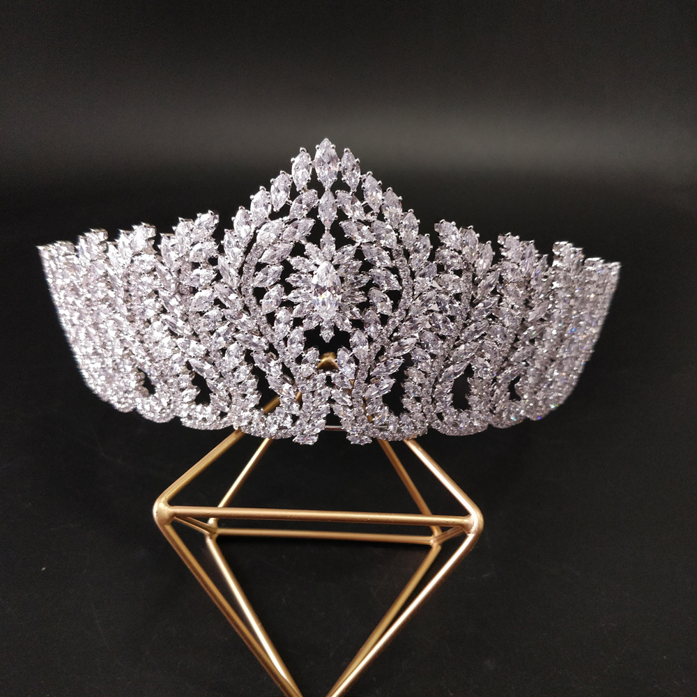 Luxe CZ cristal mariage diadème Royal princesse couronne mariées étincelant bijoux de mariée femmes cheveux accessoires grande couronne