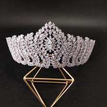 купить Luxury CZ Crystal Wedding Tiara Royal Princess Crown Brides Sparkling Bridal Jewelry Women Hair Accessories Big Crown онлайн