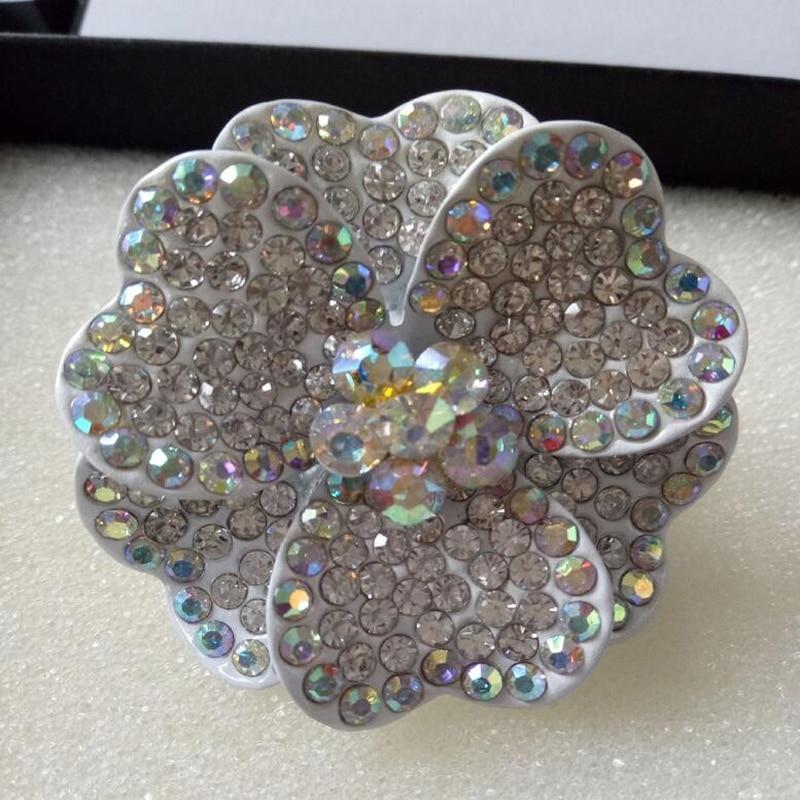 Moda pretirano velik srčni kristalni cvet elastičen prstni prstan - Modni nakit - Fotografija 4