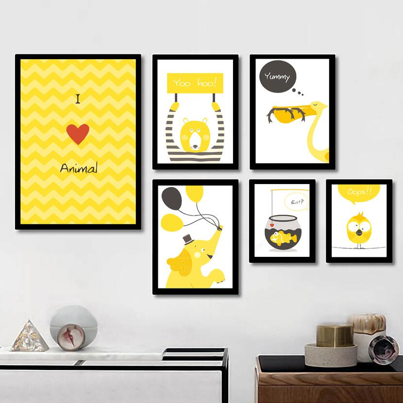 Modern Abstract Deer Yellow Painting Gray Geometric Nordic Poster ...