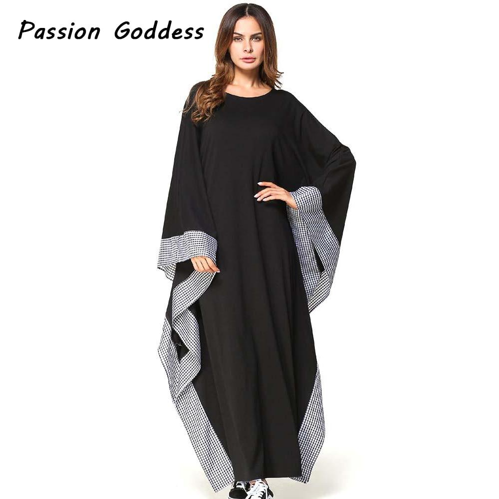Kaftan Kleid Übergroßen Kleider Elegante Frauen Casual Plaid ...