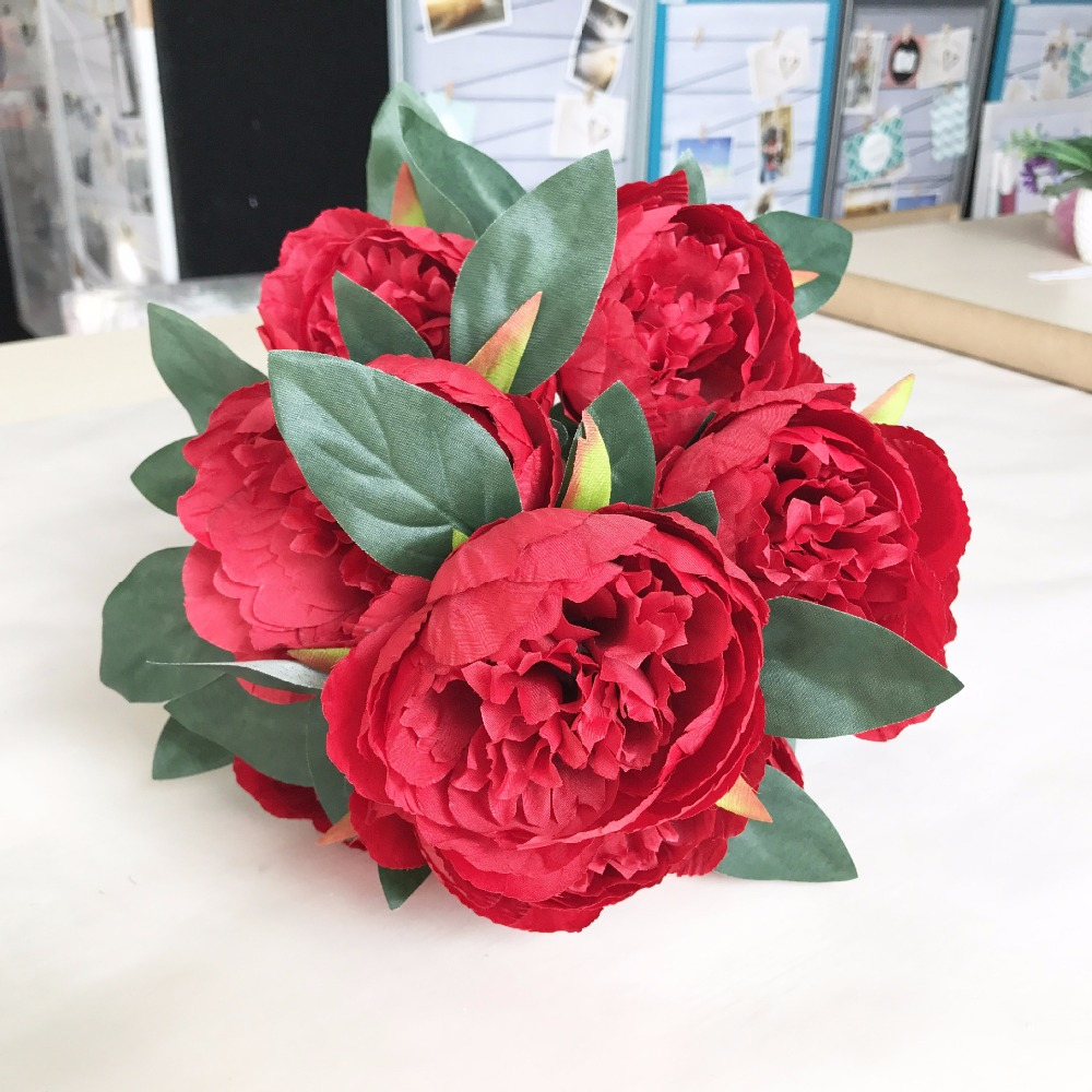 High quality 10 heads whiteredpinkpurple peony silk cloth bouquet high quality 10 heads whiteredpinkpurple peony silk cloth bouquet plastic artificial flower for wedding party decoration in artificial dried flowers izmirmasajfo