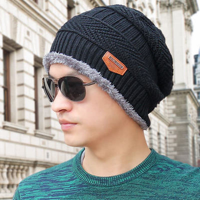 2019 Men   Beanies   Knit Hat Winter Cap For Man knitted Cap Boys Thicken Hedging Cap Balaclava   Skullies   Fashion Warm knit   Beanie
