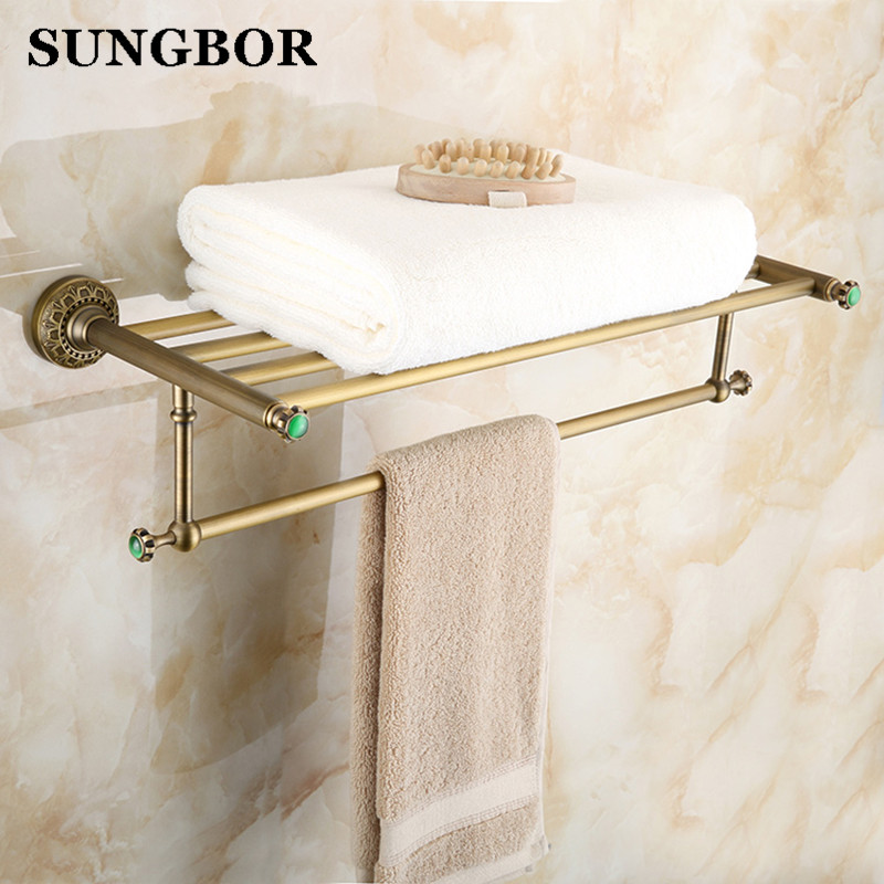 Luxury Towel shelf antique brass Bathroom towel rack holder High Quality bronze brown Bath Towel Shelves Towel Bar bath shelf ratchet