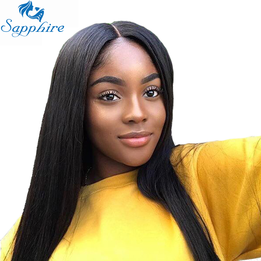 Sapphire Lace Front Human Hair Wigs Brazilian Straight Lace Front Wig Pre Plucked With Baby Hair