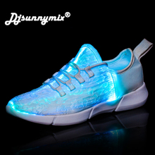 DJSUNNYMIX Led Shoes for adults USB charger Lighted Up shes for men unisex Fiber optic material Mesh breathable Glowing Sneakers