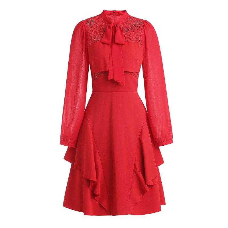 Lignes Couleur D'été Robe Solide rouge Mince Pour Longues Maille Noir À Dentelle Arc Manches Col Splice Femme 6gtPq1wrg