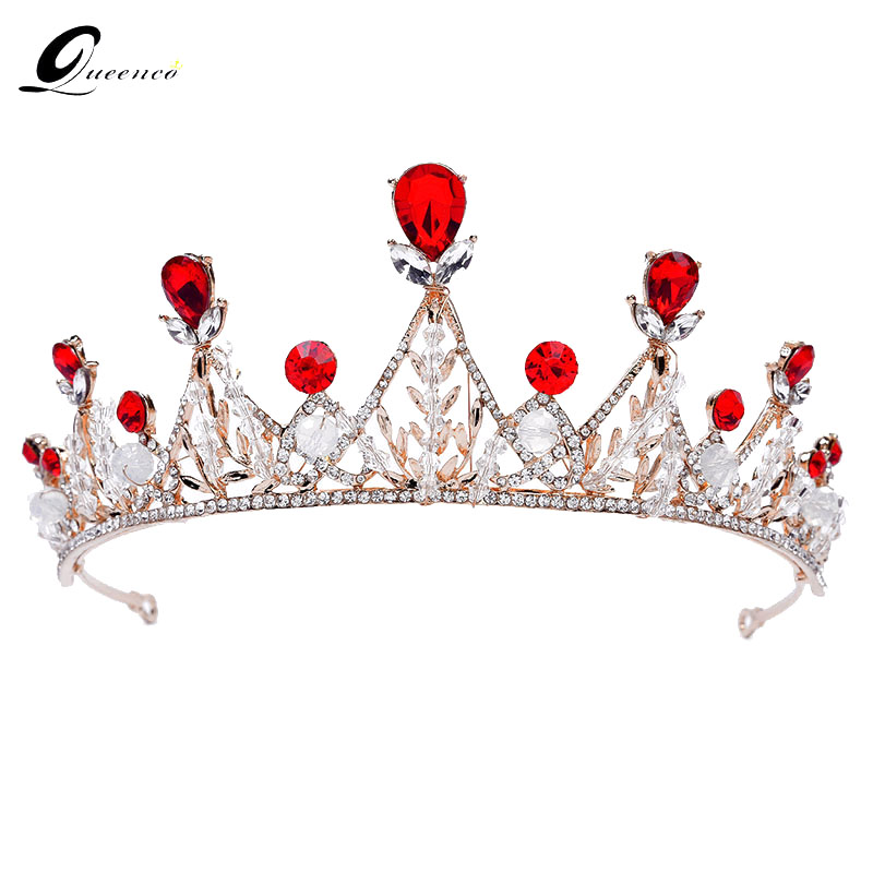 Queenco Red/Silver/Gold Trendy Crown Crystal Tiara Bridal Hair Accessories Princess Diadem Wedding Headpiece Beauty Crowns