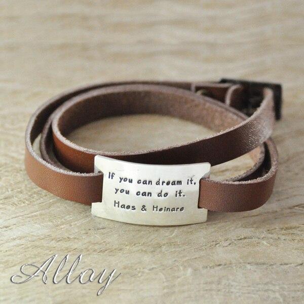 Custom Alloy Fashion bracelet with Rectangle charm name bracelet