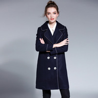 Women Dark Blue Double Breasted Acrylic Blends Winter Coat Plus Size Outwear L To 4xl 5xl