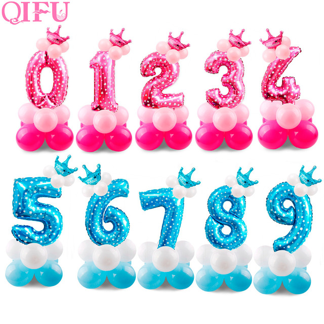 QIFU 17Pcs Foil Birthday Balloons Air Blue Boy Number Balloon Helium Balloon Figures Baloons Birthday Party Decorations Kids