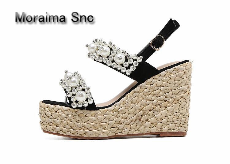 Moraima Snc barnd design women shoes summer dress pumps crystal Platform shoes wedges high heels sandales femme pearl sandalen