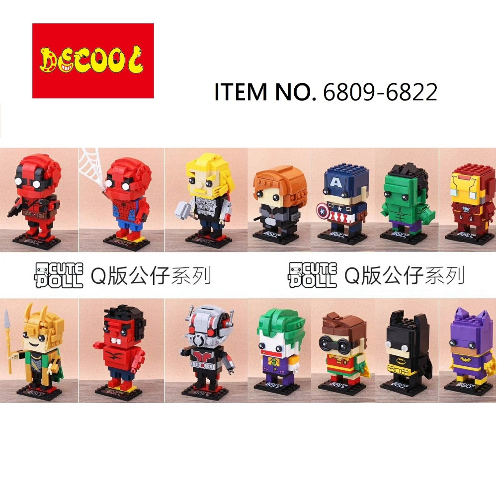 2018 Decool marvel brickheadz SuperHeroes Avengers batman Deadpool Hulk Toys Building blocks for lego for minifigure LELE LPS цена
