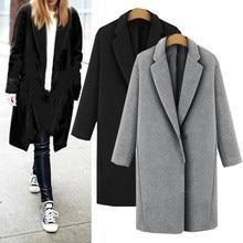 2017 Fashion Women Autumn Winter Buttons Lapel Neck Long Sleeve Parka Wool Overcoat Outwear Slim Long Coat Jacket Wollmantel