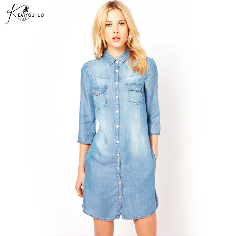 2019 Winter Women Fashion Denim Dress Plus Size 3XL Vintage Half - Ropa de mujer