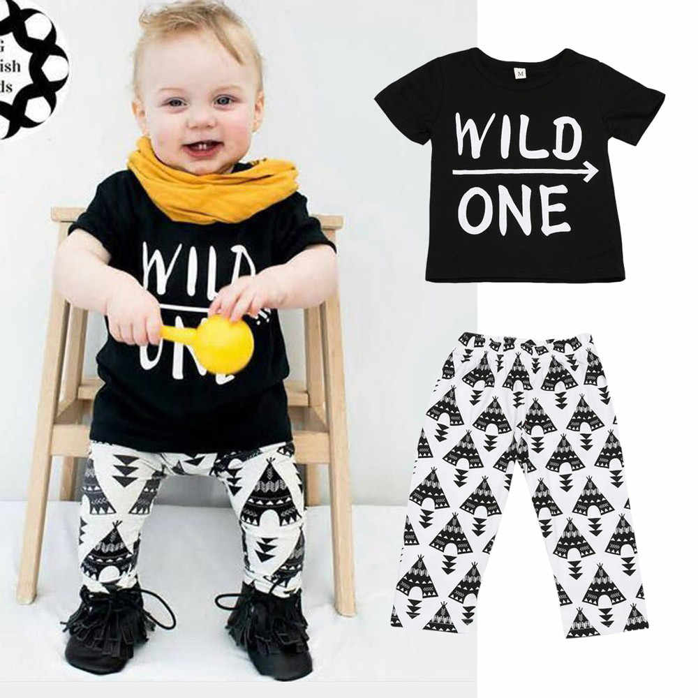 CHAMSGEND 2019 Summer  Baby Set Letter Print T-Shirt +Geometric Pattern Pants Boys Clothing Suit 19MAY9 P25