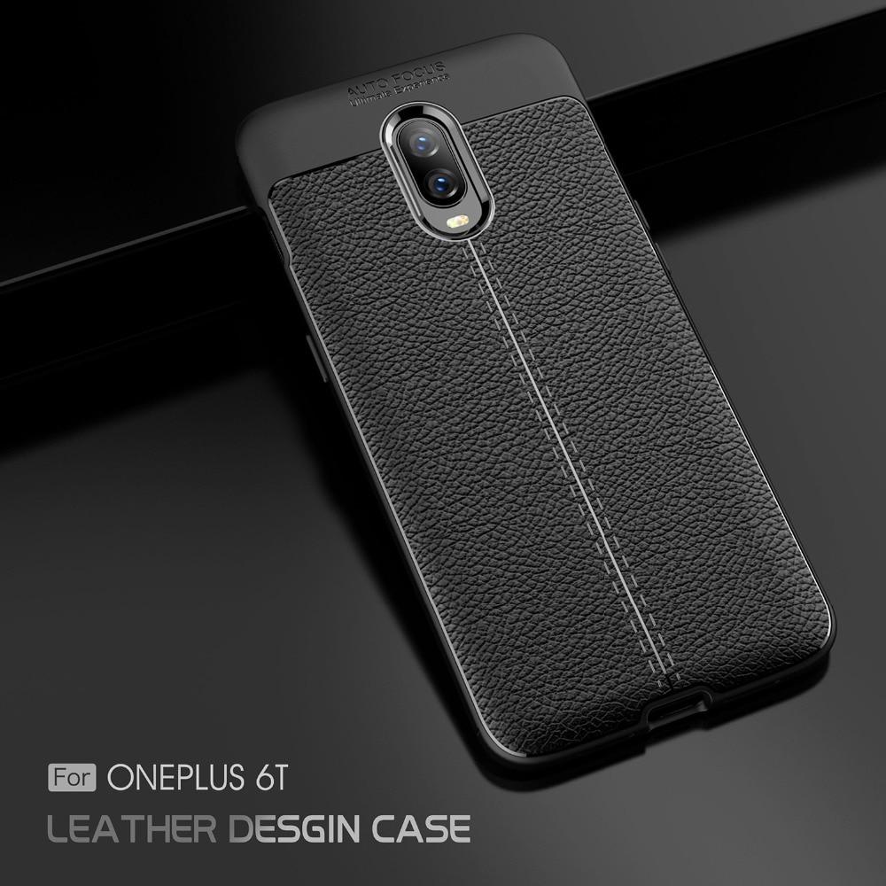 SFor Capa OnePlus 6T Cases Litchi TPU Rugged Phone Case
