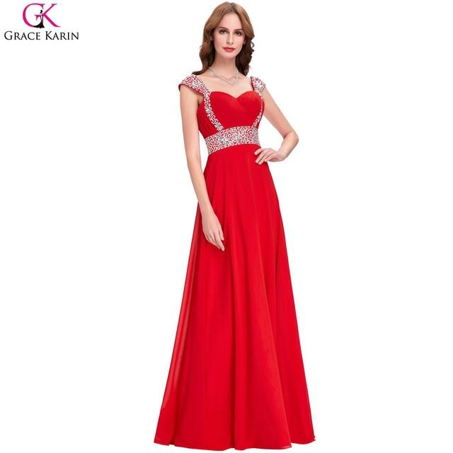 Red Evening Dresses Long 2017 High Quality Grace Karin Chiffon Green ...