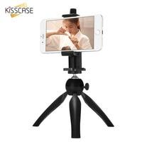 Kisscase desktop mini tripé de câmera suporte mini tripé telefone projetor self-timer girar 360 graus suporte do telefone móvel portátil