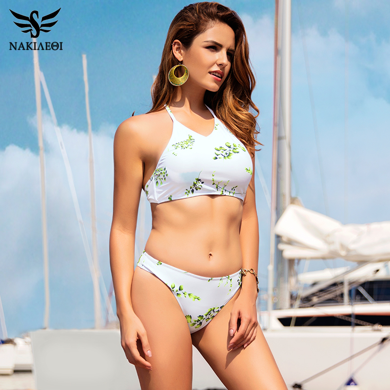 NAKIAEOI 2019 Sexy Bikinis Women Swimwear Low Waist Swimsuit Crop Top High Neck Bikini Set Push Up Swimwear Halter Bathing Suits|suit up|suit suitsuit top - AliExpress