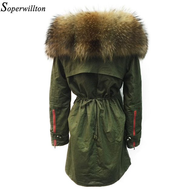 a32c8b9e0ea Soperwillton New 2018 Winter Jacket Women Real Large Raccoon Fur Collar  Thick Loose size Coat outwear Parkas Army Green  A050