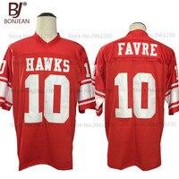 2017 New Cheap Brett Favre 10 Hancock Hawks High School Red American Football Jersey Throwback Embroidered