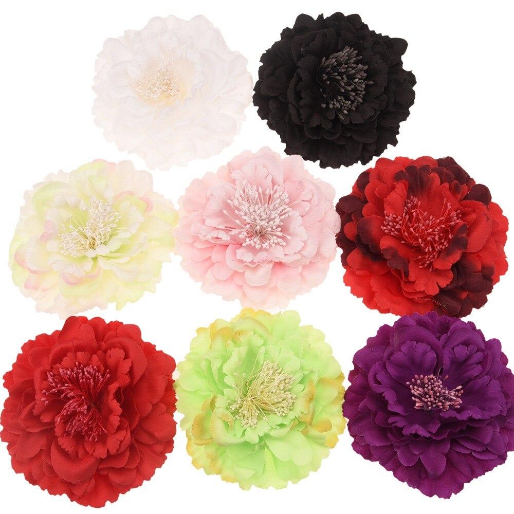 8PCS Big Peony 11cm Hair Flowers Hair Accessories DIY Accessory Boutique Flower No Clips No Bows Wedding Decoration Flower