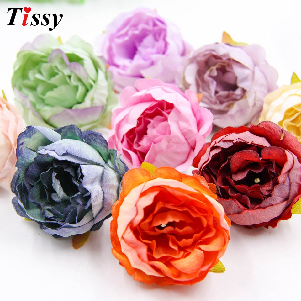 Lowered 10PCS Silk Artificial Peony Flowers Head Multi Colors For ...