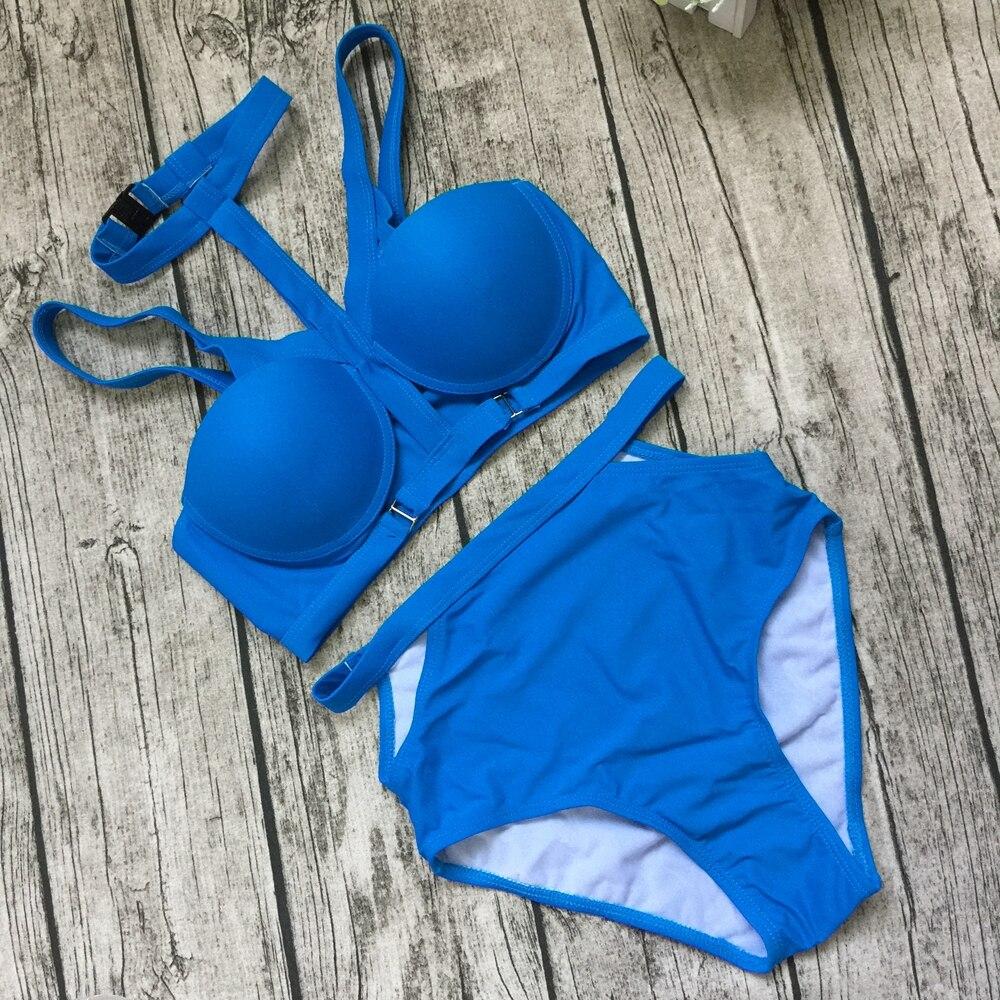 2017 Bikini Women High Neck Push Up Bikinis Set Padded Swimsuit High Waist Swimwear Brazilian Cutout BathingSuit Maillot De Bain