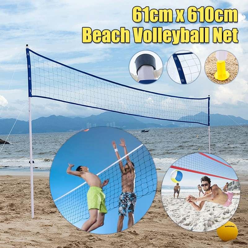 Système de filet de Volleyball de plage ensemble Portable poteaux réglables pompe à main de balle Sports de plein air volley-Ball formation