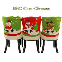 1PC Christmas Seat Cover Chair 3D Santa Snowman Elk Hat For Dinner Table Party Xmas New