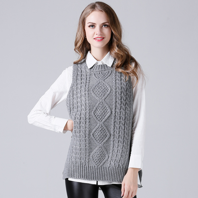 JOGTUME Gray/Camel Sweater Vest Women 2017 Spring Autumn Round ...