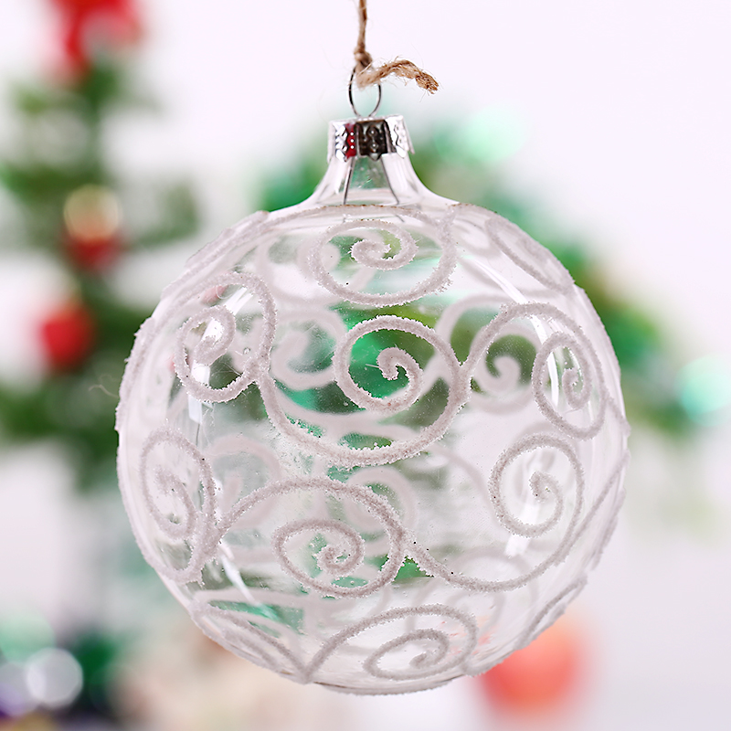 Transparent glass ball white s striped christmas tree