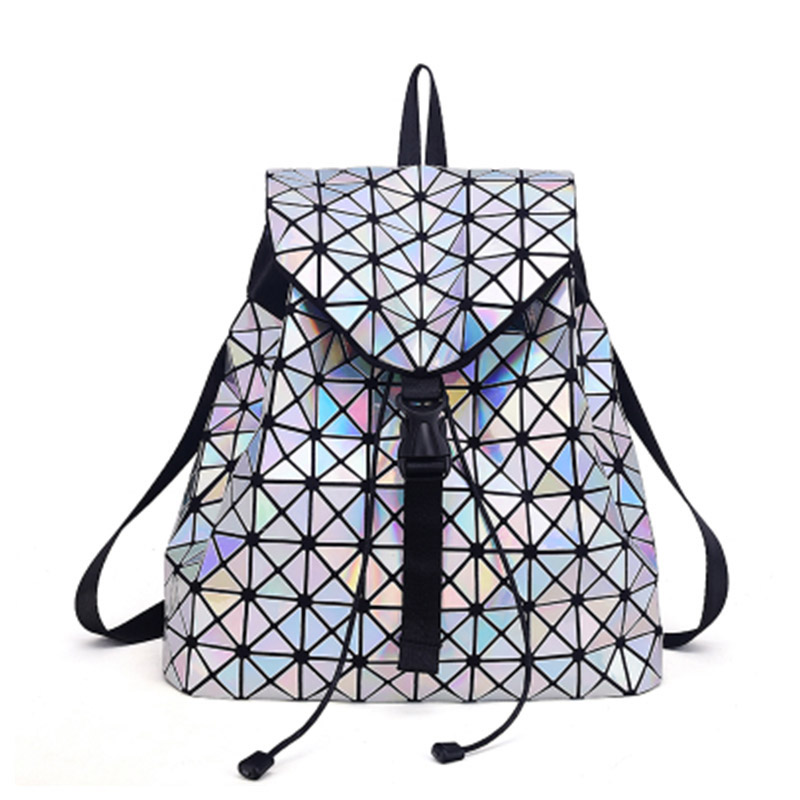 New Bao Backpacks Women Geometric Shoulder Bag Student's School Bag Hologram Luminous Backpack Laser Silver Backpack Mochilas
