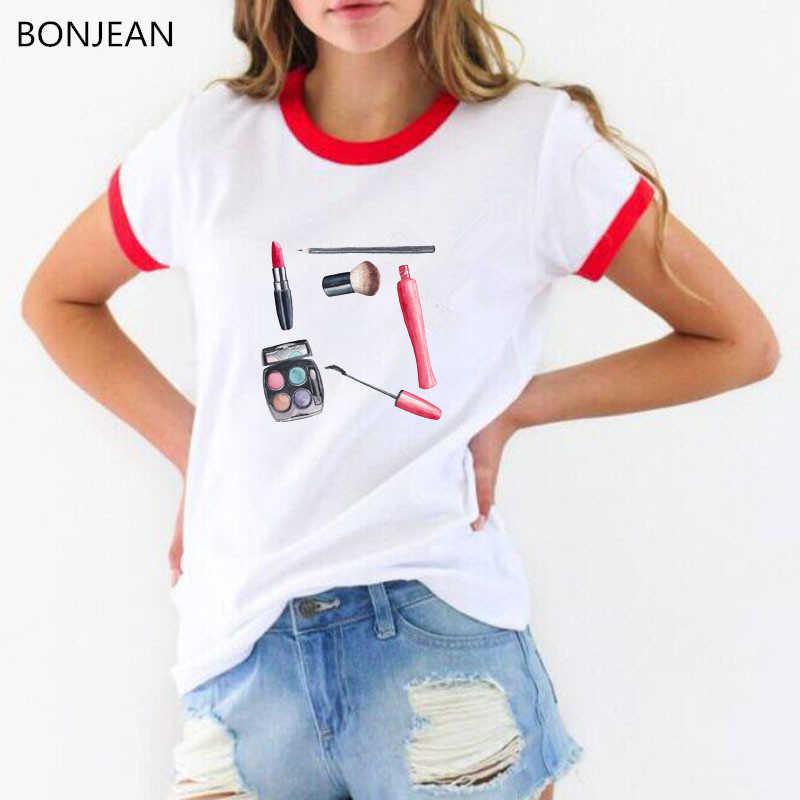 2019 Musim Panas Wanita T Shirt Bangun dan Makeup Adalah Seni Pink Cetakan T-shirt Femme Atasan Hipster Keren wanita Kasual Tshirt