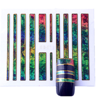 3D Nail Art   Stickers   with Adhesive Aurora Glass Mirror Nail   Stickers   3D Glitter Stencils   Decal   3D   Stickers   for Nails ZJT061