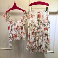 Роскошные костюмы женские летние шелковые топы с цветочным принтом Блузка + юбка комплекты из 2 предметов rmsx 5,14
