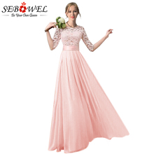 SEBOWEL 2018 Slim Chiffon Pleated Long Dress Women Plus Size Lace Sleeve Dress Floor Length Gowns Bridesmaid Long Party Dress